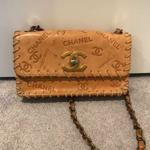 RARE Chanel Vintage Natural Leather Flap Bag